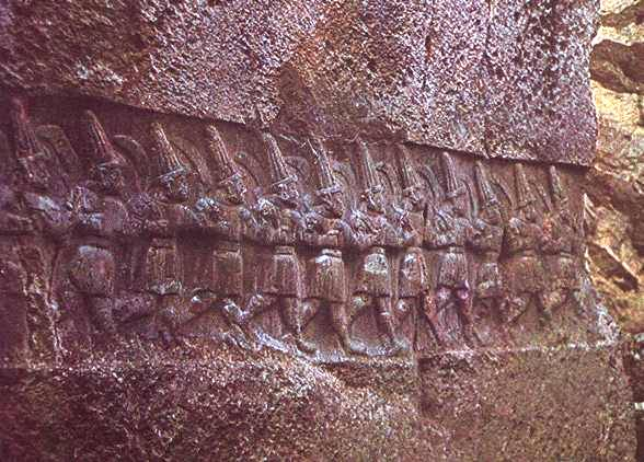 13th century rock carving from Yazilikaya near Boghazkoy in Anatolia depicts warrior-gods