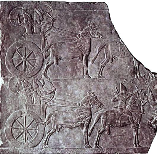 A characteristic chariot from the time of Ashurbanipal,