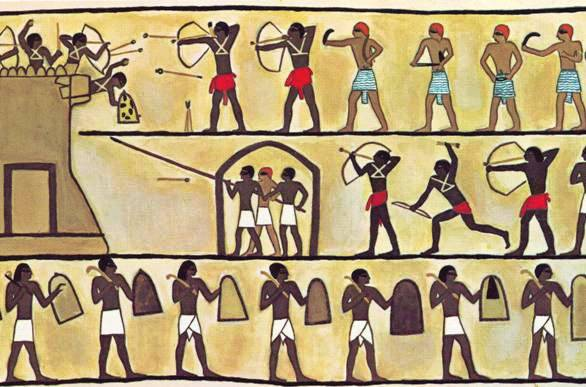 Slingshots deadly weapons in ancient times for Egyptian mural painting
