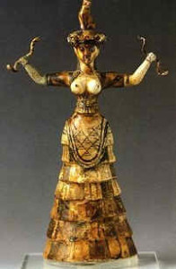 Minoan priestess holding two snakes, fertility symbols of death and rebirth