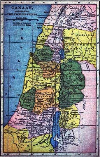 Map of Canaan/Israel, as divided among the Twelve Tribes