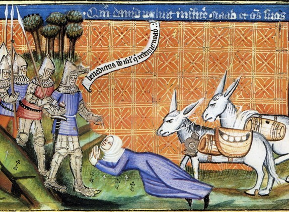 Abigail with her food-laden asses meets David, medieval manuscript