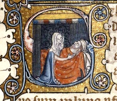 Abigail, David in the Bible: Abigail tells Nabal what she has done, medieval manuscript