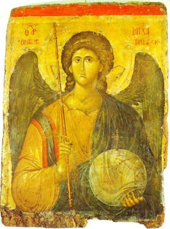 Angel paintings: Archangel Michael with spear and orb, icon