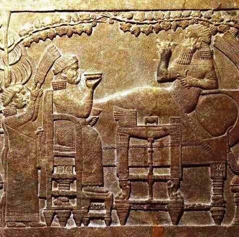 Ashurbanipal, stone wall carving from Nineveh