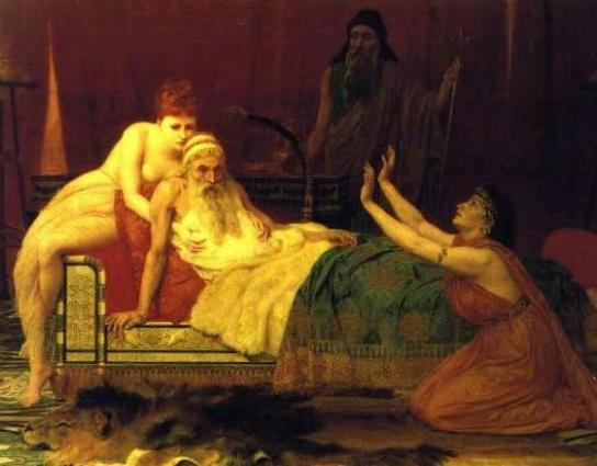 Bathsheba begs the dying David to name Solomon his heir, from a painting by Goodall