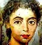 2nd century painting of a beautiful young woman: from the Fayum coffin portraits