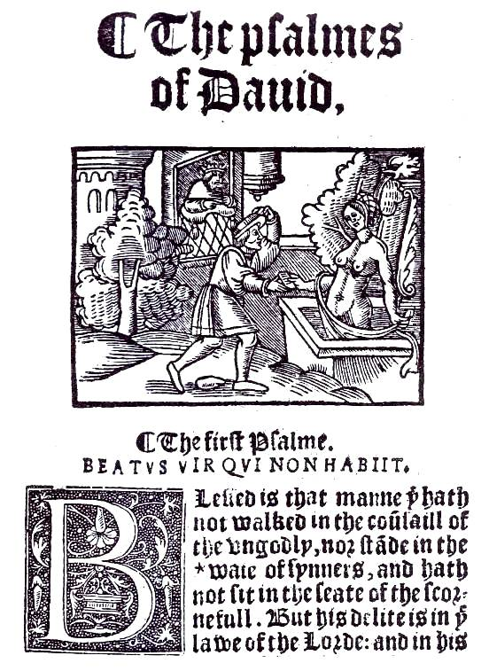 Bathsheba, David. Illustration from one of the first English translations of the Bible. Bathsheba rises from her bath.