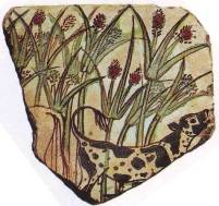 Fragment of ancient Egyptian pottery showing bulrushes