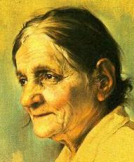 Bible study ideas: Painting of an elderly woman with a wise and loving face