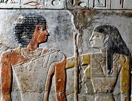Mural with a man and woman expressing affection, a rare image in ancient Egyptian art