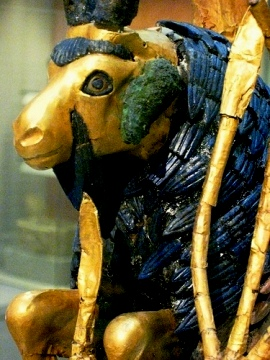 Human sacrifice in the Bible: Gold and lapis statue of a ram, from the Death Pit at Ur