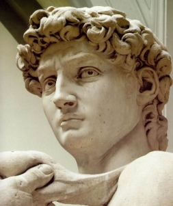 Statue of David by Michelangelo, detail of the head