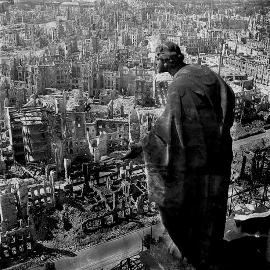 Angel paintings: The Angel of Dresden, photograph of a statue looking out over the German city of Dresden after it had been bombed in 1945