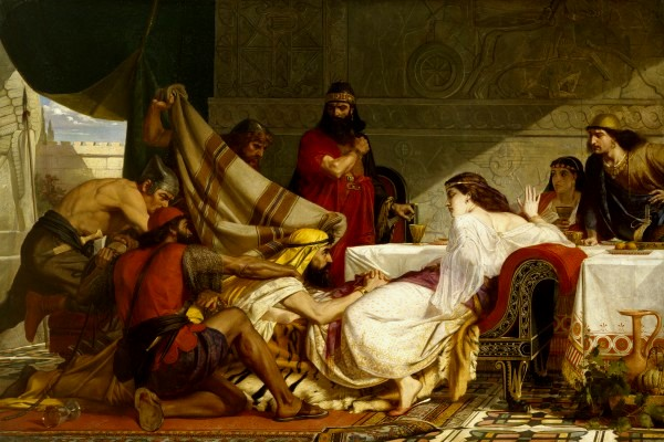 Esther Paintings: 'Festival of Esther - Haman begs for mercy', Edward Armitage, 1865
