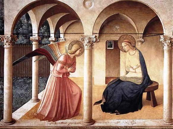 Angel paintings: Famous painting of the Annunciation, by Fra Angelico