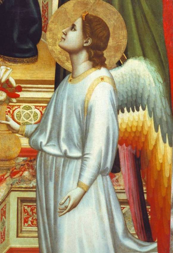 Angel paintings: Giotto, Galleria degli Uffizi, Florence: Angel kneeling at the foot of the enthroned Madonna and Child