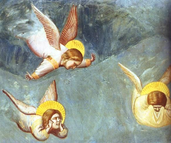 Angel paintings: Angels grief-stricken at the burial of Jesus