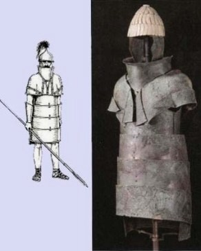 Early Greek body armor; Jephtah and his men were not as well armed as this