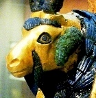 Gold and lapis lazuli statue of a ram caught in a bush or thicket