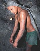 Child worker in an underground mine