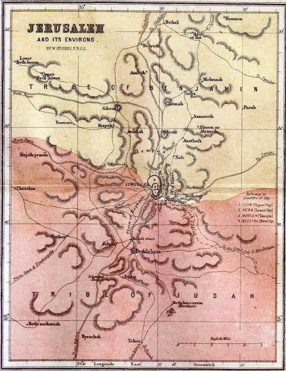 Bible maps: Jerusalem and the surrounding land