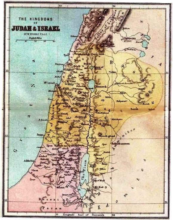 Bible maps: Kingdoms of Judah and Israel