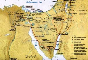 Bible study activities: Map of the possible route taken by Miriam and Moses
