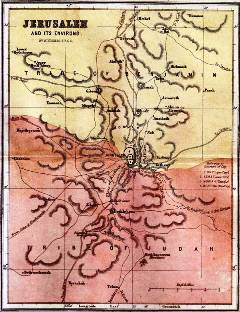 Bible study activities: Map of Jerusalem and environs at the time of Jesus