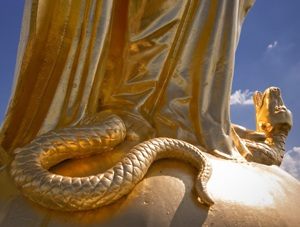 Madonna: The serpent, symbol of evil, crushed under Mary's foot, Notre Dame College