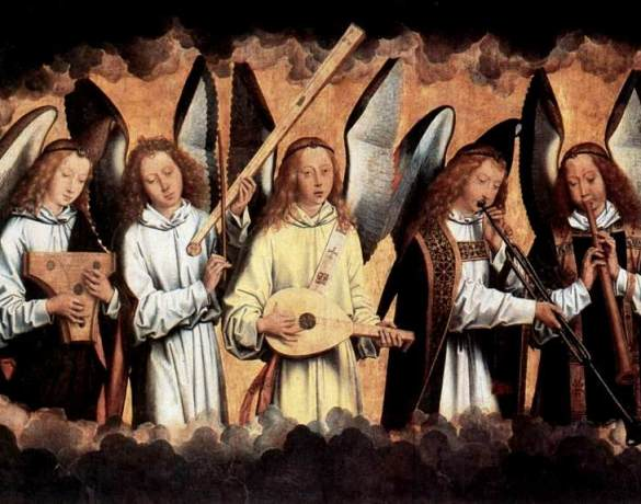 Angel paintings: Angel Musicians playing various medieval musical instruments, painting by Hans Memling