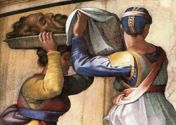 Judith Paintings: 'Judith carries away the head of Holofernes', Michelangelo Buonarroti, 1508-1512, severed head on a platter