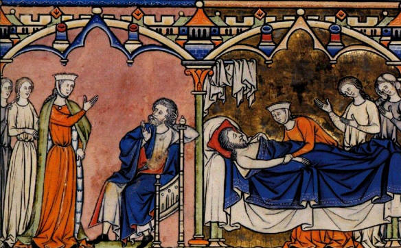 Abigail tells Nabal what she has done, Nabal dies; medieval manuscript