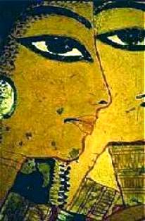 Ancient wall painting of Egyptian women with full make-up and elaborate jewels