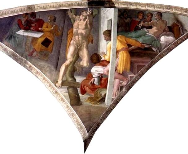 Esther Paintings: 'The Punishment of Haman', Michelangelo Buonarroti, 1511