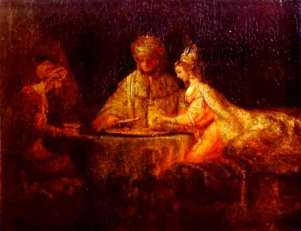 Esther Paintings - 'Ahasuerus and Haman at the Feast of Esther', Rembrandt, 1660