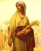 Ruth gleaning grain in Boaz' fields