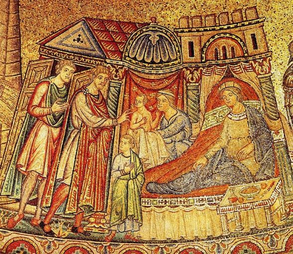The midwife presents the second of two sons to Joseph. Basilica of San Marco