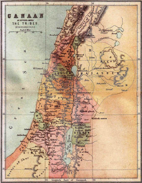 Bible maps: Canaan – territory of the Tribes of Israelites