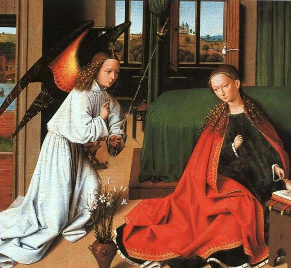 Angel paintings: Petrus Christus, The Annunciation with the Angel Gabriel