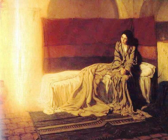 Angel paintings: Mary and the Angel Gabriel at the Annunciation, painting by Henry Ossawa Tanner