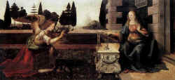 Bible painting of the Annunciation, by Leonardo da Vinci