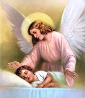 The Guardian Angel watches and protects a sleeping child