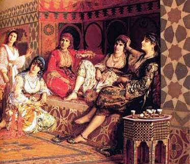 Bathsheba; 19th century painting of women in a harem