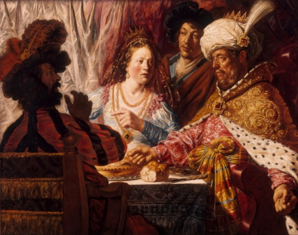 Esther Paintings: The Feast of Esther, Jan Lievens, Dutch, 1607-1674, painting circa 1625