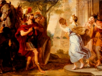 Human sacrifice in the Bible: Jephtah's daughter runs out to meet him, painting by Quellinus