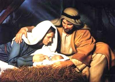 Mary and Joseph at the birth of Jesus