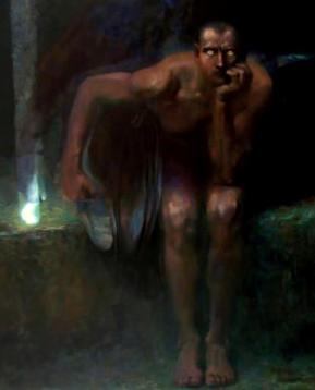 The fallen angel Lucifer cast into the outer darkness, by Franz von Stuck