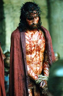 Scene from the film 'The Passion of the Christ', with Jesus being presented to the crowd by Pontius Pilate