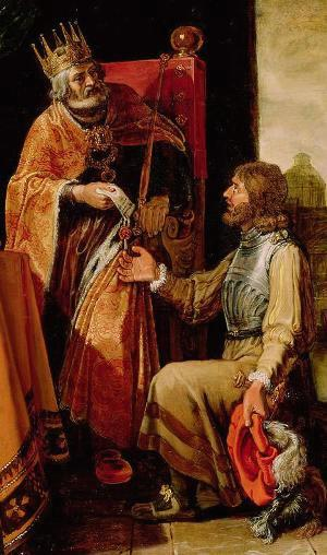 David gives the letter to Uriah, from a painting by Pieter Lastman